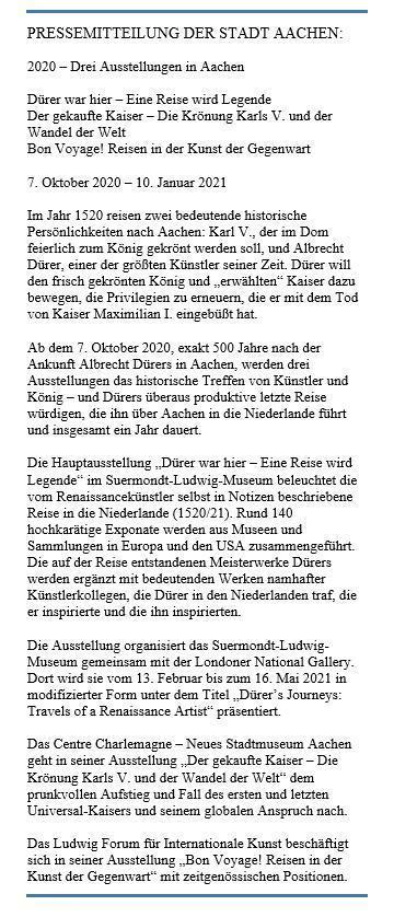 Pressemitteilung Stadt Aachen 2020